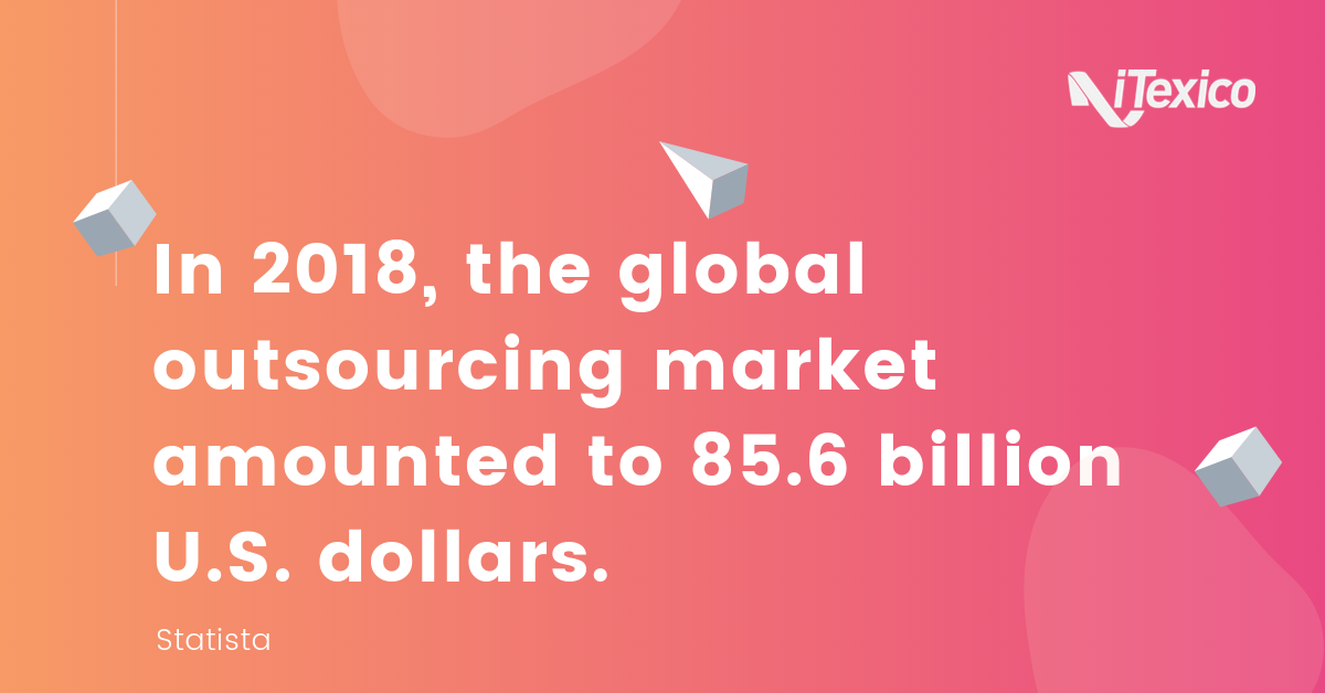 In 2018, the global outsourcing market amounted to 85.6 billion dlls