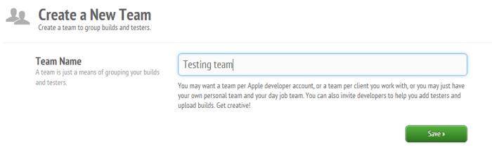 Create team testFlight