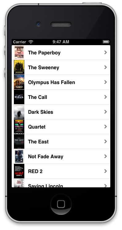 movie trailers app created in titanium
