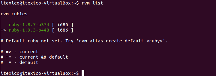 rvm list current