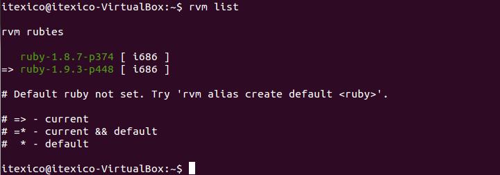 rvm list current