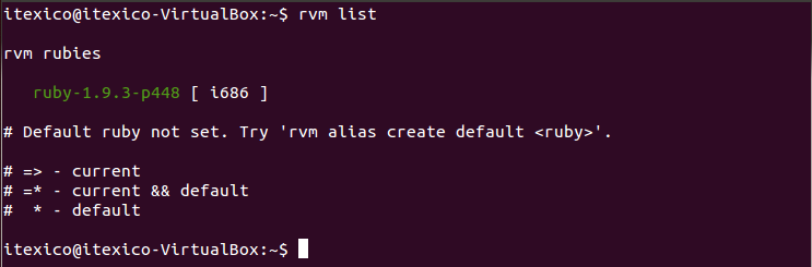 rvm list one version