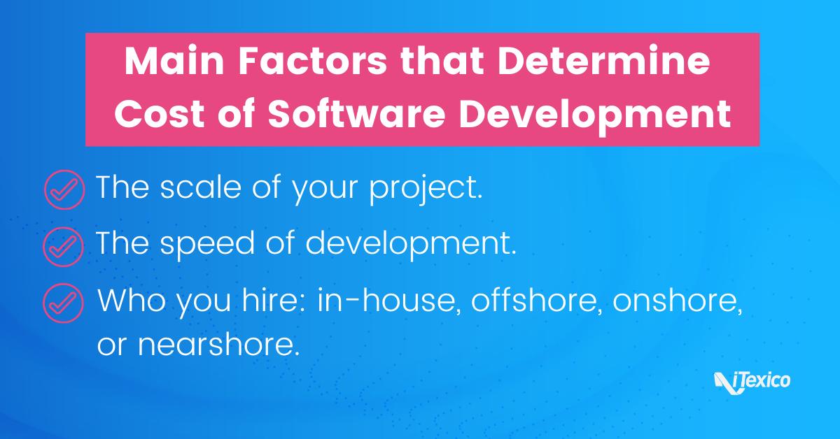 Main factors that determine cost of software development